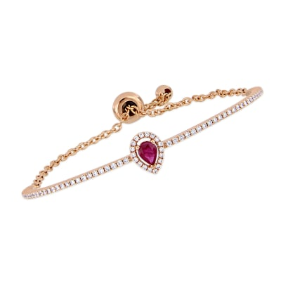 .40 Carat Ruby and .57 ct. t.w. Diamond Bar Bolo Bracelet in 18kt Rose Gold
