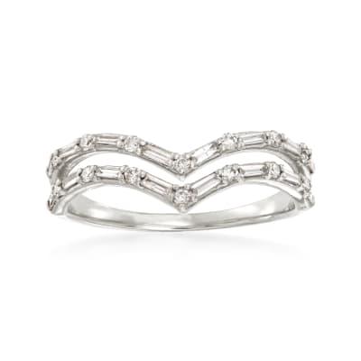.33 ct. t.w. Diamond Double-Row Chevron Ring in 14kt White Gold