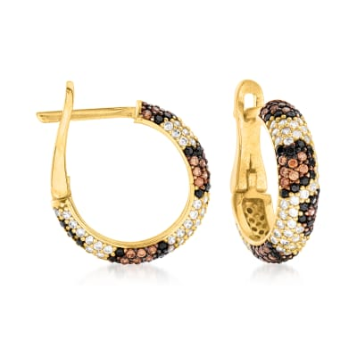 1.39 ct. t.w. Multicolored CZ Leopard-Print Huggie Hoop Earrings in 18kt Gold Over Sterling