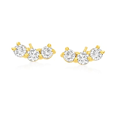 .31 ct. t.w. Diamond Curved Bar Stud Earrings in 14kt Yellow Gold
