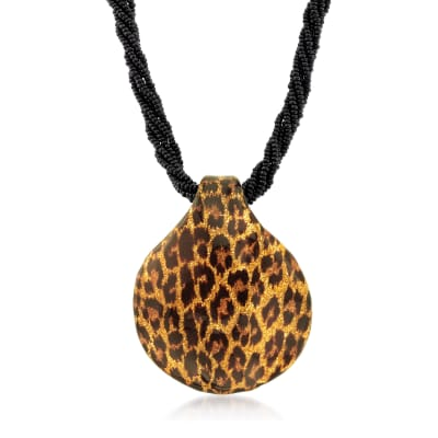 Italian Leopard-Print Murano Glass Pendant Necklace with 18kt Gold Over Sterling