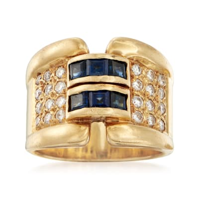 C. 1990 Vintage 1.00 ct. t.w. Sapphire and .60 ct. t.w. Diamond Ring in 18kt Yellow Gold