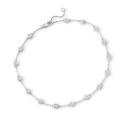 1.25 ct. t.w. Diamond Station Anklet in Sterling Silver