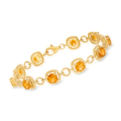 7.50 ct. t.w. Citrine Line Bracelet in 18kt Gold Over Sterling