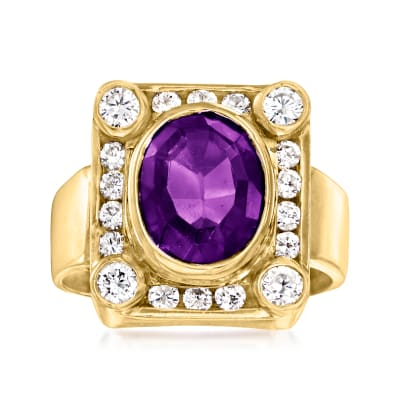 C. 1980 Vintage 2.30 Carat Amethyst Frame Ring with .50 ct. t.w. Diamonds in 14kt Yellow Gold