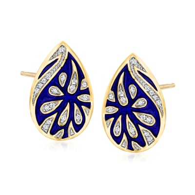 .17 ct. t.w. Diamond Floral Earrings with Blue Enamel in 18kt Gold Over Sterling