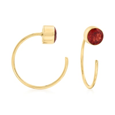 .60 ct. t.w. Garnet C-Hoop Earrings in 14kt Yellow Gold