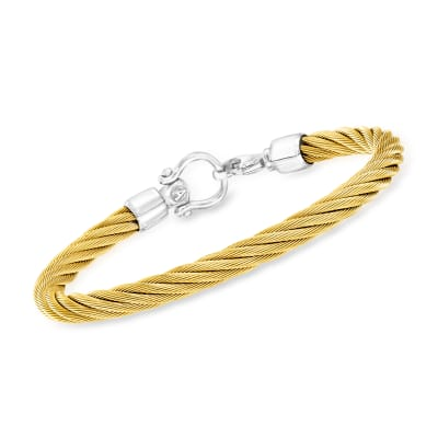 ALOR Men's Yellow Stainless Steel Twisted Cable Bracelet