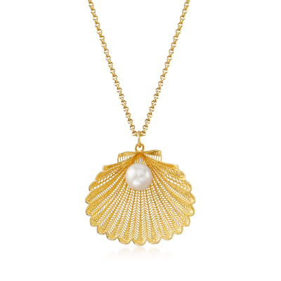 Italian 7mm Cultured Pearl Seashell Pendant Necklace in 18kt Gold Over Sterling Silver
