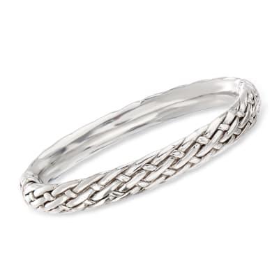 Sterling Silver Basketweave Bangle Bracelet