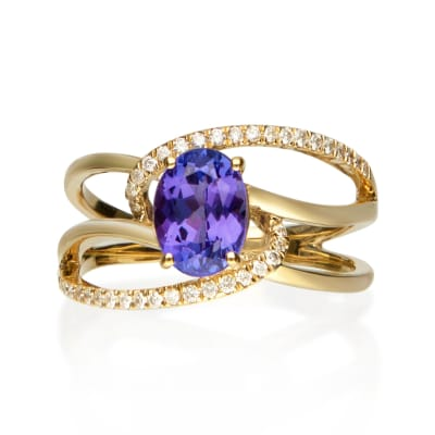 1.30 Carat Tanzanite and .18 ct. t.w. Diamond Ring in 14kt Yellow Gold