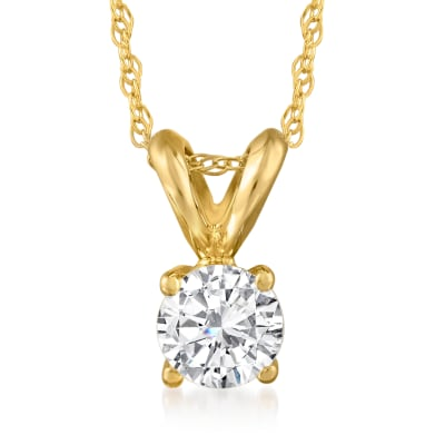 .33 Carat Diamond Solitaire Necklace in 14kt Yellow Gold