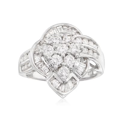 C. 1980 Vintage 1.75 ct. t.w. Diamond Cluster Ring in 14kt White Gold