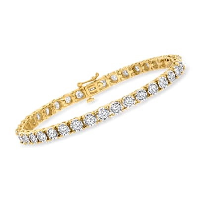 5.00 ct. t.w. Diamond Tennis Bracelet in 18kt Gold Over Sterling
