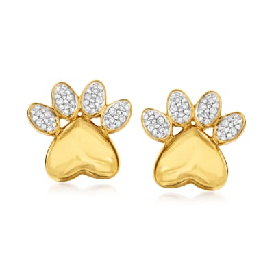 .10 ct. t.w. Diamond Paw Print Earrings in 18kt Gold Over Sterling