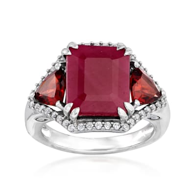 5.75 Carat Ruby, 1.30 ct. t.w. Garnet and .40 ct. t.w. White Zircon Ring in Sterling Silver