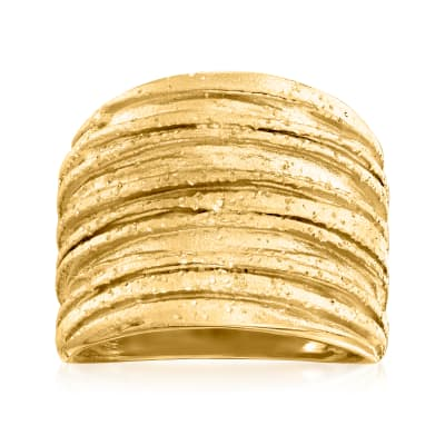 18kt Gold Over Sterling Sparkle Tree Bark Ring