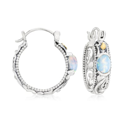 Opal Bali-Style Hoop Earrings in Sterling Silver with 18kt Yellow Gold