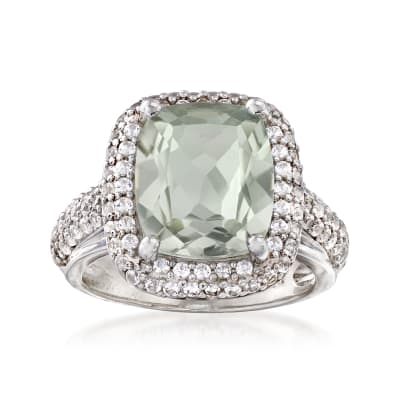 5.00 Carat Prasiolite and 1.00 ct. t.w. White Sapphire Ring in Sterling Silver