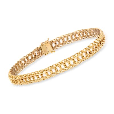 14kt Yellow Gold Flat Oval-Link Bracelet
