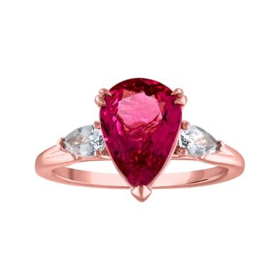 2.50 Carat Pink Spinel Ring with .40 ct. t.w. Gray Spinel in 18kt Rose Gold