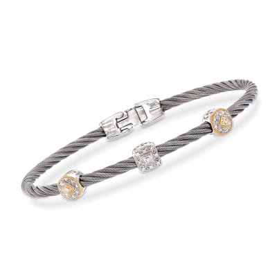 "ALOR ""Shades of Alor"" .14 ct. t.w. Diamond Gray Carnation Cable Station Bracelet in Stainless Steel and 18kt Yellow and White Gold"