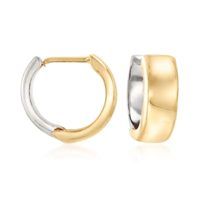 14kt Two-Tone Gold Reversible Huggie Hoop Earrings