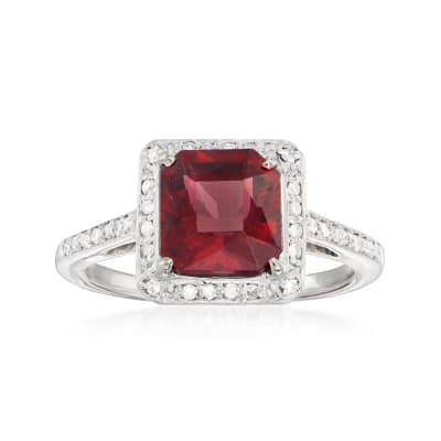 C. 1990 Vintage 2.50 Carat Rhodolite Garnet and 30 ct. t.w. Diamond Ring in 14kt White Gold