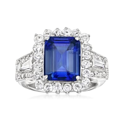 4.60 Carat Blue Tanzanite Ring with 1.32 ct. t.w. Diamonds in 14kt White Gold