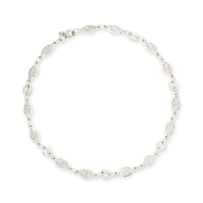Sterling Silver Navette-Style Openwork Anklet