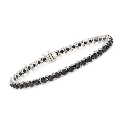 8.00 ct. t.w. Black Diamond Tennis Bracelet in 14kt White Gold