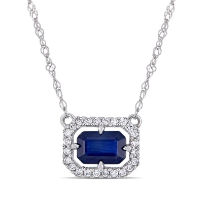 .70 Carat Sapphire and Diamond-Accented Necklace in 14kt White Gold