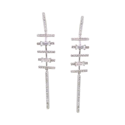 1.54 ct. t.w. Diamond Linear Drop Earrings in 18kt White Gold