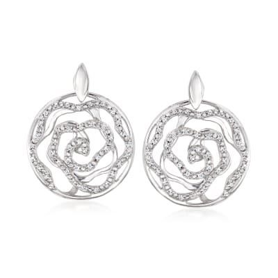 .41 ct. t.w. Diamond Openwork Floral Drop Earrings in Sterling Silver