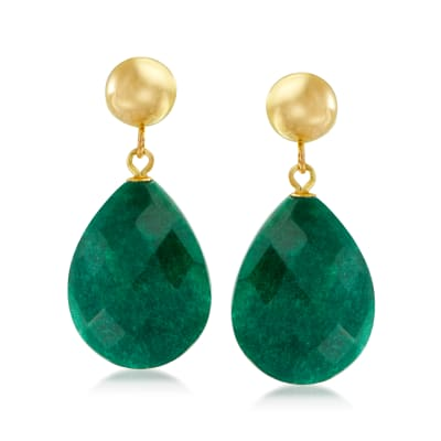 18.00 ct. t.w. Emerald Teardrop Earrings in 14kt Yellow Gold