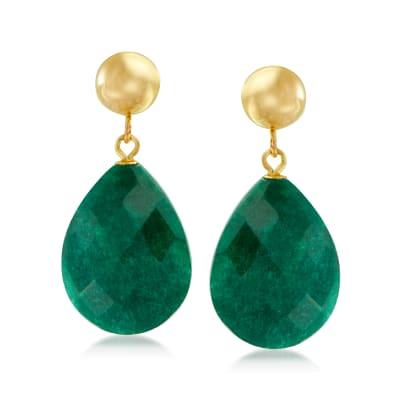 18.00 ct. t.w. Emerald Teardrop Earrings in 14kt Yellow Gold