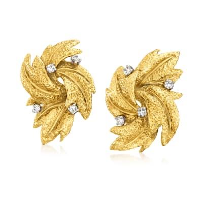 C. 1970 Vintage .40 ct. t.w. Diamond Leaf Earrings in 18kt Yellow Gold