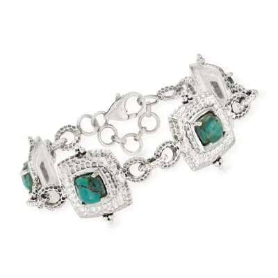 Green Turquoise Bracelet in Sterling Silver