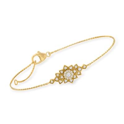 .25 ct. t.w. Diamond Cluster Bracelet in 18kt Gold Over Sterling
