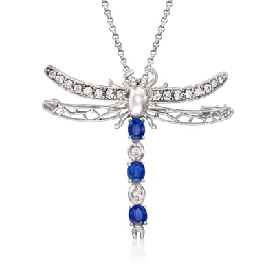 C. 1990 Vintage 1.50 ct. t.w. Sapphire and .77 ct. t.w. Diamond Dragonfly Pin/Pendant Necklace in Platinum