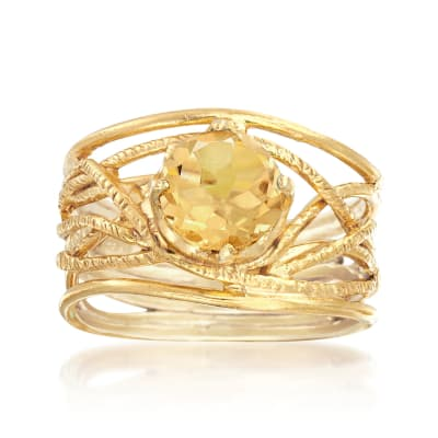 1.60 Carat Citrine Textured Openwork Ring in 18kt Gold Over Sterling