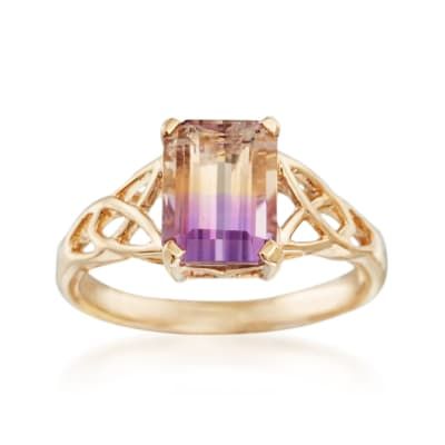 1.90 Carat Ametrine Celtic Style Ring in 14kt Yellow Gold
