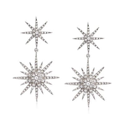1.00 ct. t.w. Diamond Starburst Drop Earrings in 14kt White Gold