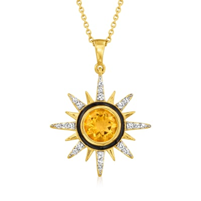 .70 Carat Citrine and .30 ct. t.w. White Topaz Sun Pendant Necklace in 18kt Gold Over Sterling