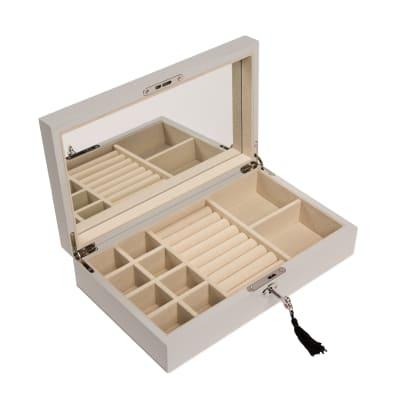 Brouk & Co. Metallic Silver Single Hinged Wooden Jewelry Box