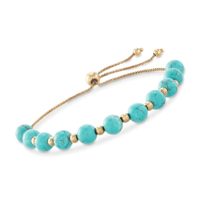 Simulated Turquoise and 14kt Yellow Gold Bead Bolo Bracelet