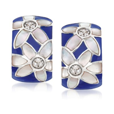 "Belle Etoile ""Moonflower"" Blue Enamel and .10 ct. t.w. CZ Hoop Earrings in Sterling Silver"