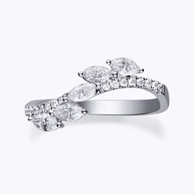 .55 ct. t.w. Diamond Curve Ring in 14kt White Gold