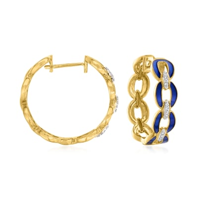 .25 ct. t.w. Diamond and Blue Enamel Link Hoop Earrings in 18kt Gold Over Sterling