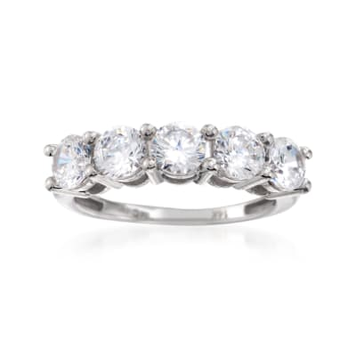 2.00 ct. t.w. CZ Five-Stone Ring in 14kt White Gold